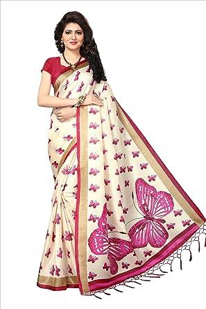 fda526c829 Image Unavailable. Image not available for. Colour: Tadla Enterprises  Women's Butterfly Print Khadi Jute Silk Saree ...