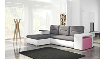 JUSThome Octans Corner Sofa Corner Group Couch Bed Textured Fabric ...
