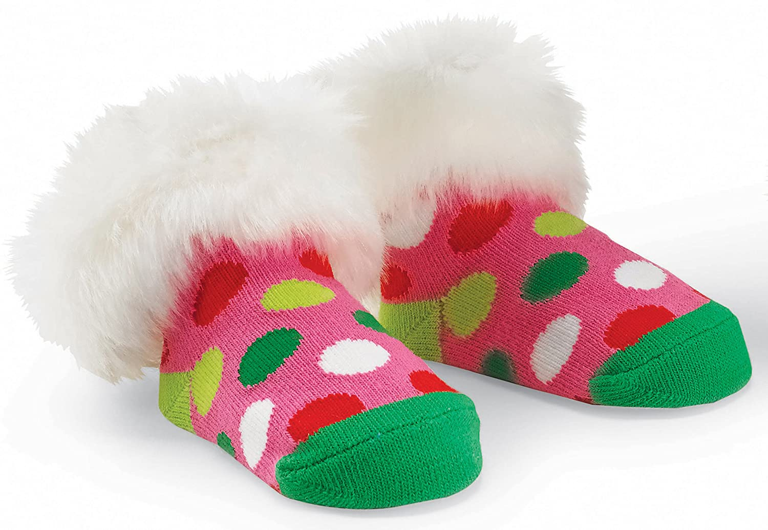 Mud Pie Baby Girl Infant Polka Dot Fur Holiday Socks 1542063