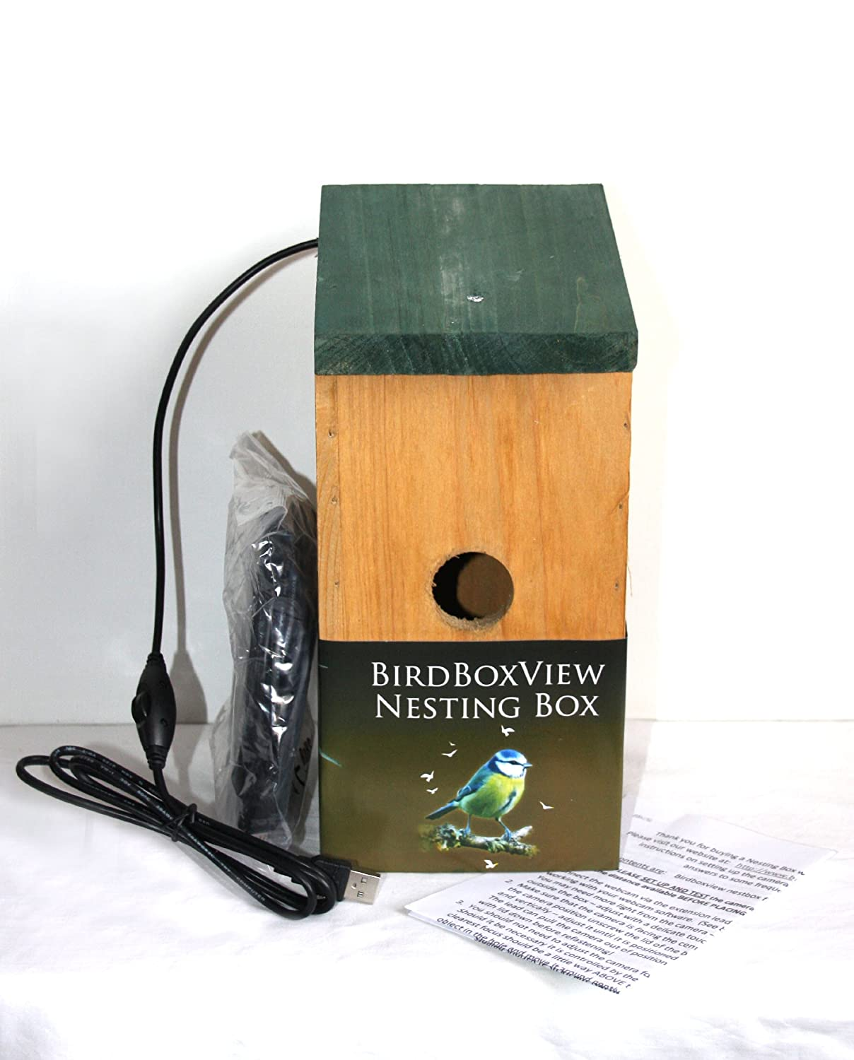 Birdboxview CAMERA NEST BOX (Webcam for PC/Laptop) 21' cable. Ideal gift for bird enthusiasts, great for Xmas or family springwatch project!
