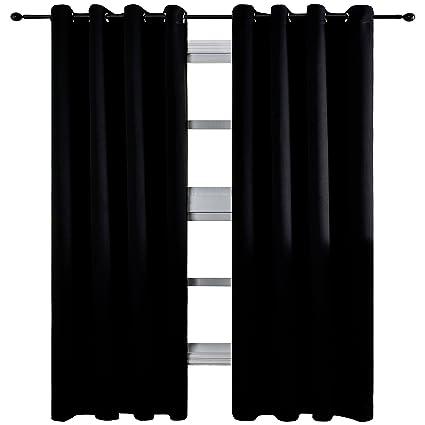 KEQIAOSUOCAI Room Darkening Blackout Curtains Flame Retardant Insulated  Window Drapes with Tiebacks,Panel,Black,60