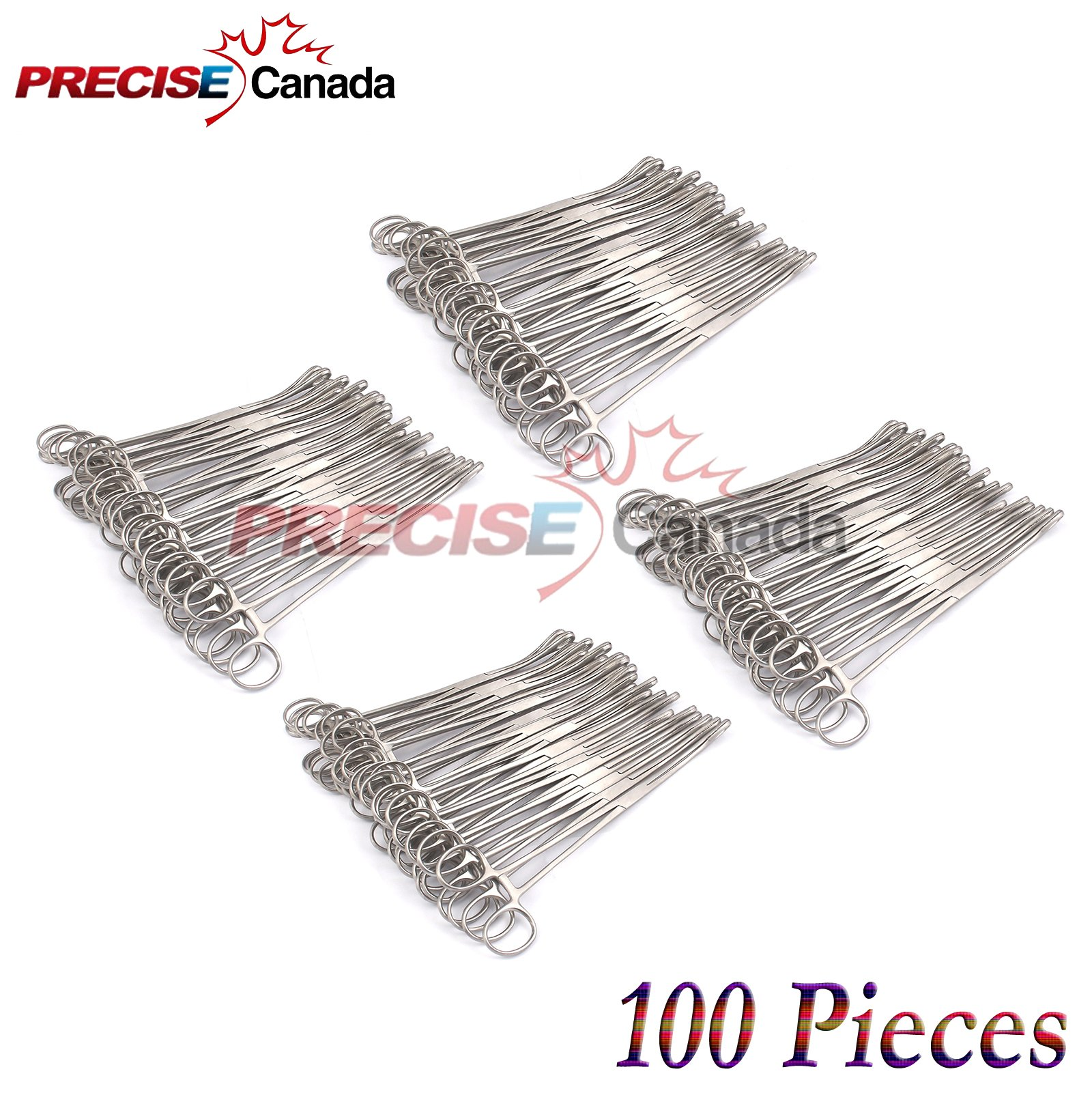 PRECISE CANADA: SET OF 100 SELF-LOCKING SPONGE FORCEPS CURVED 10'' BODY PIERCING STAINLESS STEEL by PRECISE CANADA