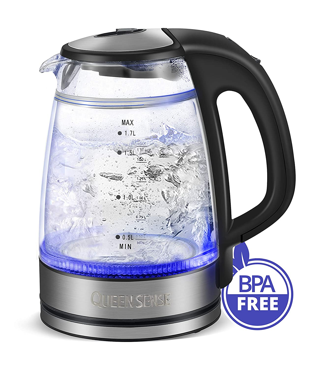 Electric Water Kettle Glass Double Wall Cordless with Blue LED Light, 1.7L 1500W Tea Kettle, Fast Water Boiler, Automatic Shutoff, Boil Dry Protection