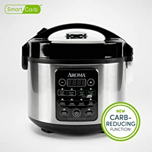 Aroma Professional ARC-1126SBL 12-Cup Smart Carb Rice Cooker, 6 uncooked/12-cooked, Stainless Steel