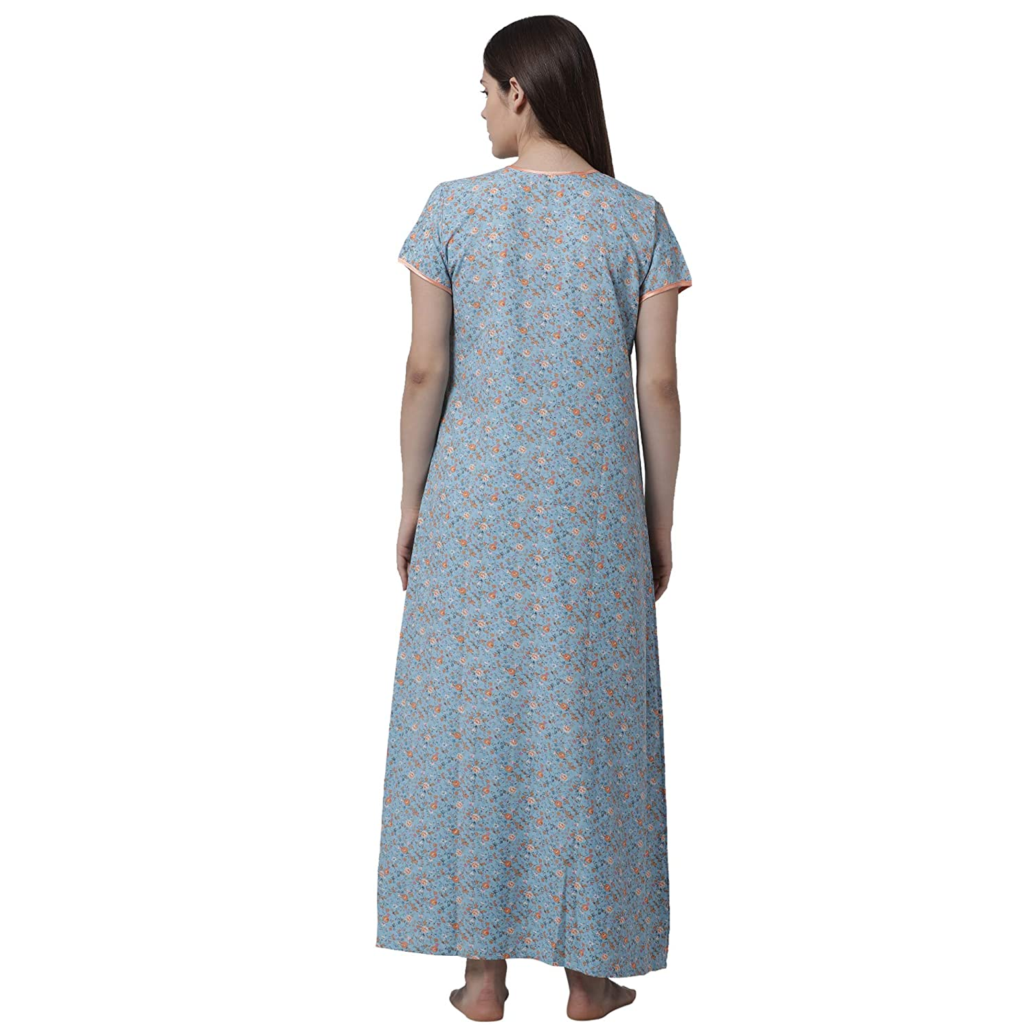 24f8cecc264 Goldstroms Minelli Women s Cotton Fabric Front Button Open Night Gown   Amazon.in  Clothing   Accessories