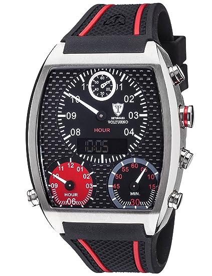 Detomaso Volturno XXL - Reloj de cuarzo para hombres, con correa de silicona de color