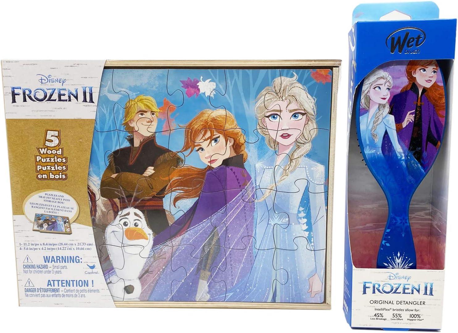 Disney Frozen 2 Puzzle /& Wet Brush Detangler Bundle Anna /& Elsa Puzzles for Kids Ages 3-5 5 Wood Puzzles in Storage Box /& Disney Wet Brush Original Detangler