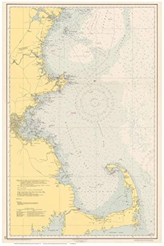 Amazon.com: Machusetts Shoreline Nautical Map 1951 Cape ... on
