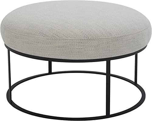 Amazon Brand Rivet Revere Round Upholstered Iron-Framed Ottoman
