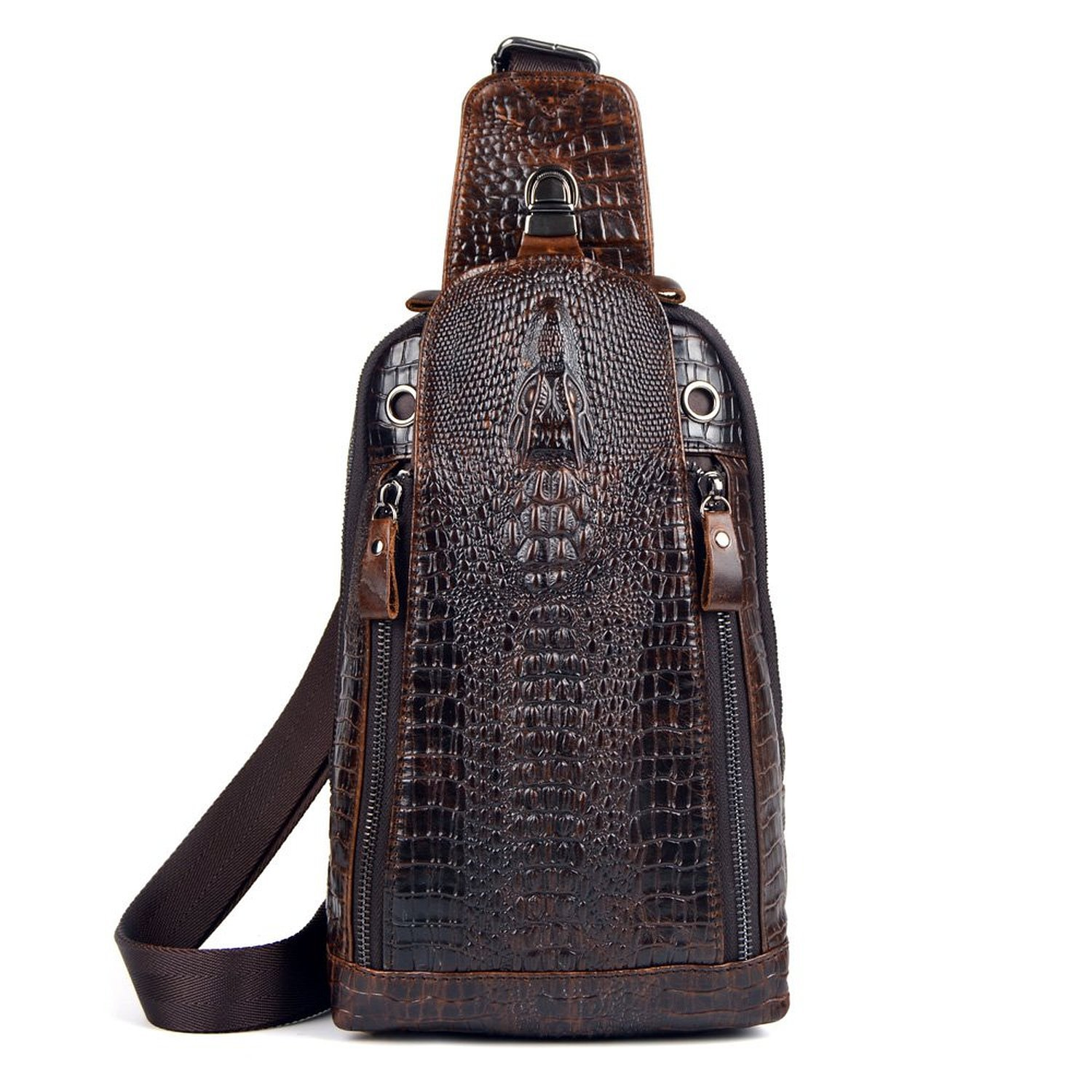 752eaa7c6d Sunmig Men s Crocodile Genuine Leather Crossbody Chest Bag Hiking Sling  Daypack free shipping