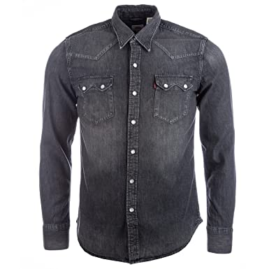 6f475d2acb1 Levi s Mens Mens Sawtooth Western Laundered Shirt in Charcoal - 3XL ...