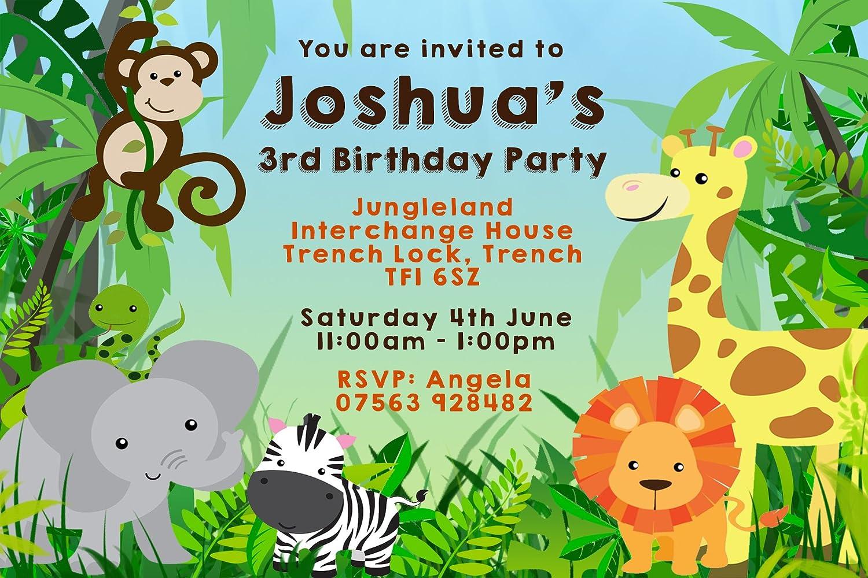 20 x Jungle Animals Kids Birthday Party Invitations Girls BoysFREE DELIVERY