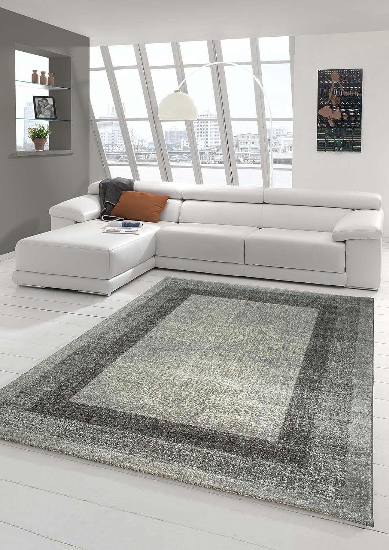 Designer Teppich Moderner Teppich Wohnzimmer Teppich Velours Kurzflor Teppich mit Winchester Bordüre in Grau Creme Größe 200 x 290 cm