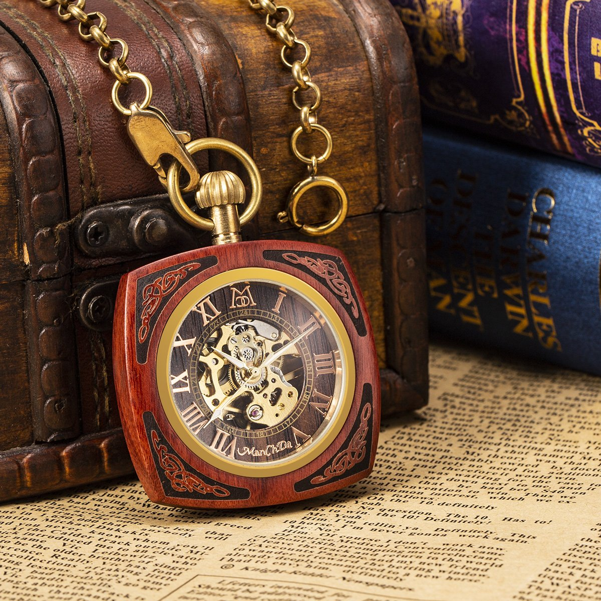 ManChDa Roman Copper Wooden Steampunk Mechanical Skeleton Pocket Watch With Chain Gift Box (4.Square Shape Roman Copper Red Wooden) by ManChDa (Image #2)