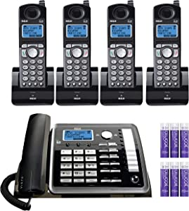 RCA 25255RE2 (25055RE1, 25254) 2-Line Phone System with Answering System - Corded Speakerphone and Wireless Handset Bundle with 3-Pack of 25055RE1 DECT 6.0 Cordless Handsets, Blucoil 6 AAA Batteries