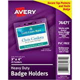 """Avery Heavy-Duty Landscape Badge Holders, Clear, 3"""" x 4"""", Pack of 25 (74471)"""