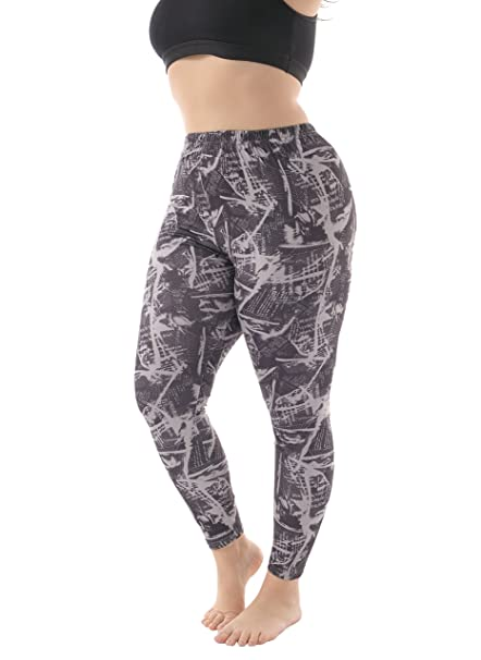 81cfc4a8f96aa ZERDOCEAN Women's Plus Size Lightweight Printed Leggings for Summer  style-010 1X