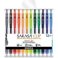 Zebra Pen Sarasa Clip Retractable Gel Pen, Fine Point, 0.5mm, Desert Zen Assorted Ink Colors, 12 Pack (44000)
