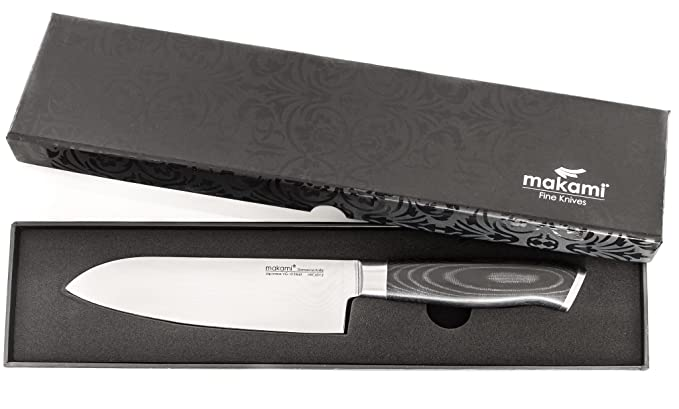 makami Premium - Cuchillo santoku de acero de damasco con mango de micarta (hoja de 16,5 cm) en caja de regalo - Cuchillo de cocina