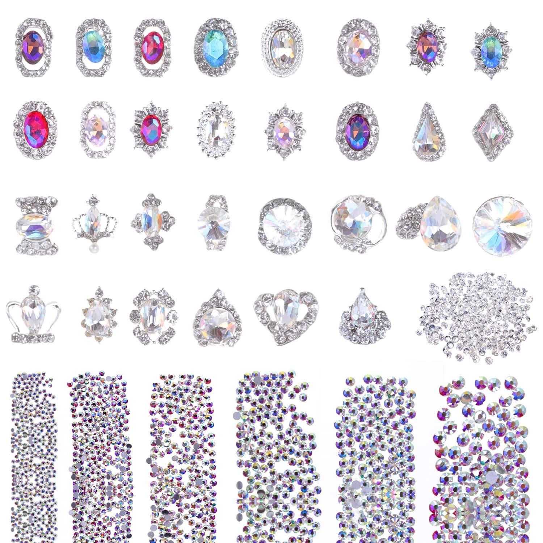 Selizo 3168pcs Rhinestones Nail Crystals Rhinestones with 30pcs Nail Metal Gems Jewels Stones for 3D Nails Art Decoration Nail Art Supplies: Beauty