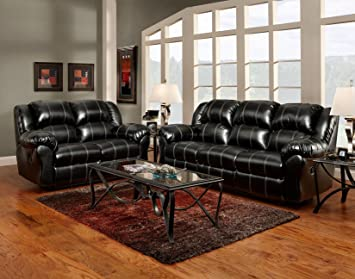 roundhill furniture taos bonded leather dual reclining loveseat black