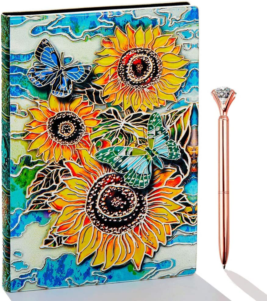 Sunflower Journal, Leather Writing Journal Notebook, A5 Lined Journal, 200Pages, Personal Diary-Antique Handmade Notepad Sketchbook, Travel Diary& Notebooks to Write in, Gift for Women&Gril (Multicolored) : Office Products