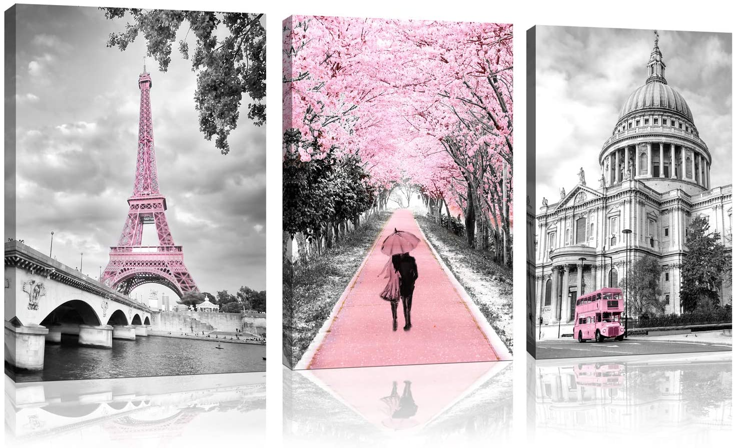 Canvas Wall Art Pink Landscape Paris Eiffel Tower Wall Decor for Bedroom Pink Lovers Girls Paris Theme Room Decoration Wall Art Black and white Art Eiffel Tower Picture Decoration Framed