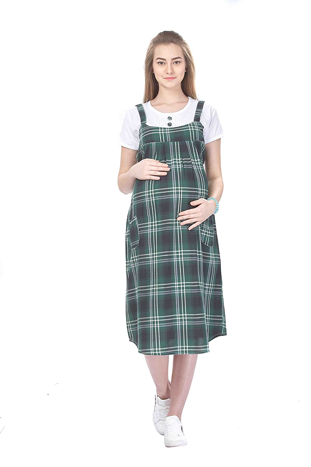 116e1613e5 MomToBe Women s Cotton White   Green Maternity Dress  Amazon.in  Clothing    Accessories