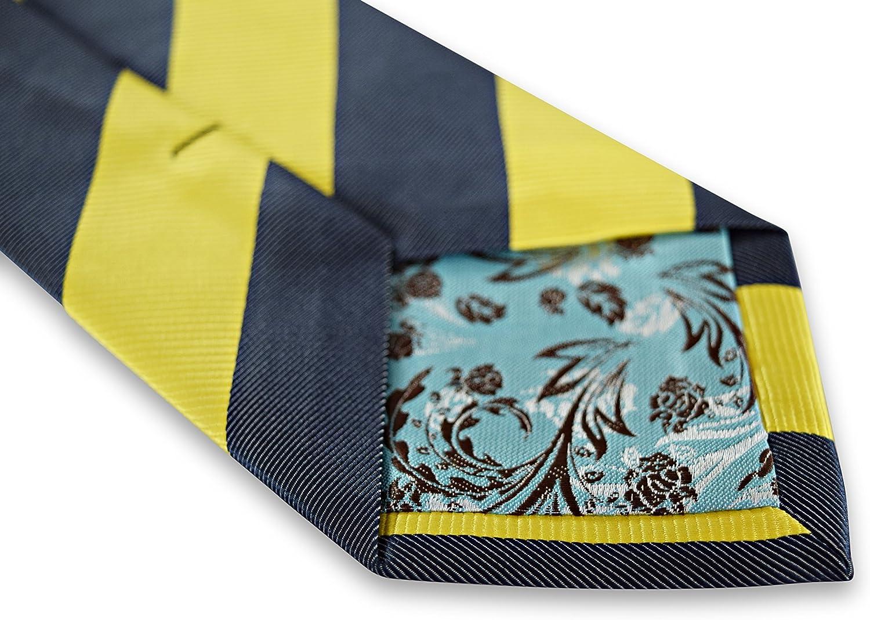 Frederick Thomas homme cravate en or jaune et bleu marine barber à Rayures