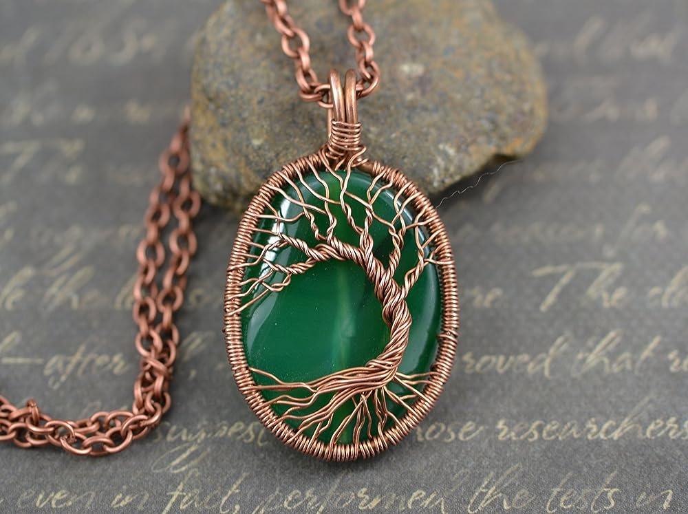 Thebestjewellery Montana Agate Pendant Copper Wire Wrapped Pendant Designer Handmade Pendant Tree of Life Pendant LA-6547