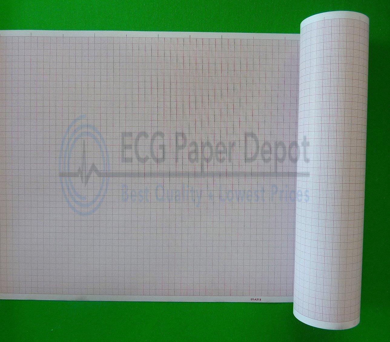Bionet Compatible EKG-GP Medical Cardiology Recording Chart Paper, 25 Rolls Per Case, Size 215mm x 82', Grid Color Red