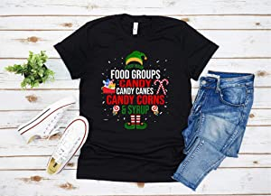 Kiss Cervical Four Main Food Groups E-l-f Buddy Christmas Pajama T-Shirt for Women Short Sleeve Crew-Neck Casual Tee Tops T Shirts