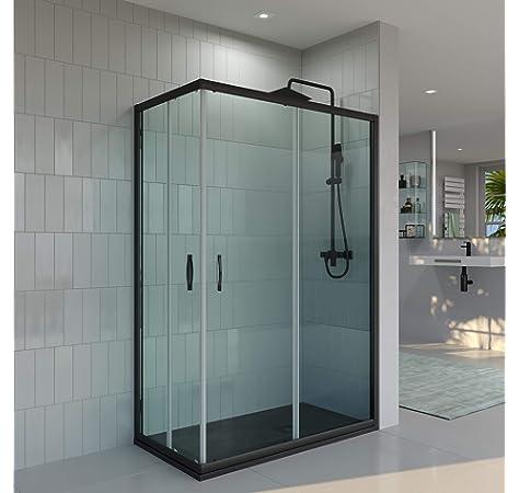 VAROBATH.Mampara de ducha rectangular con cristal transparente 6 mm y perfil acabado en negro. (70 a 90 x 120 a 129): Amazon.es: Bricolaje y herramientas