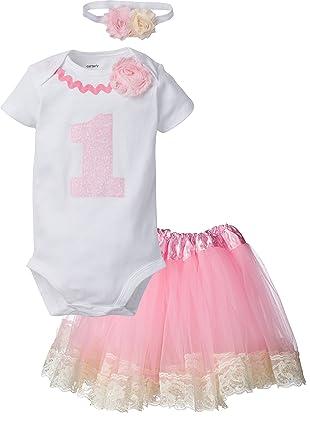 c77b28170731 Amazon.com  Perfect Pairz 1st Birthday Outfit Baby Girl Tutu - Pink ...