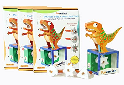 Buy funvention pack of 3 paper t rex automaton 3d model with 4 set funvention pack of 3 paper t rex automaton 3d model with 4 set of solutioingenieria Images