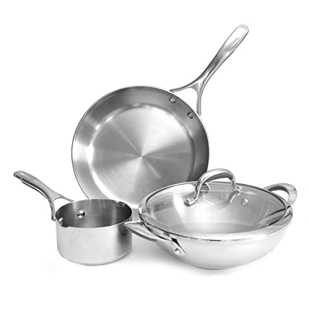 Meyer Select Stainless Steel 4-Piece Cookware Set (Gas And Induction Compatible) Pot & Pan Sets at amazon