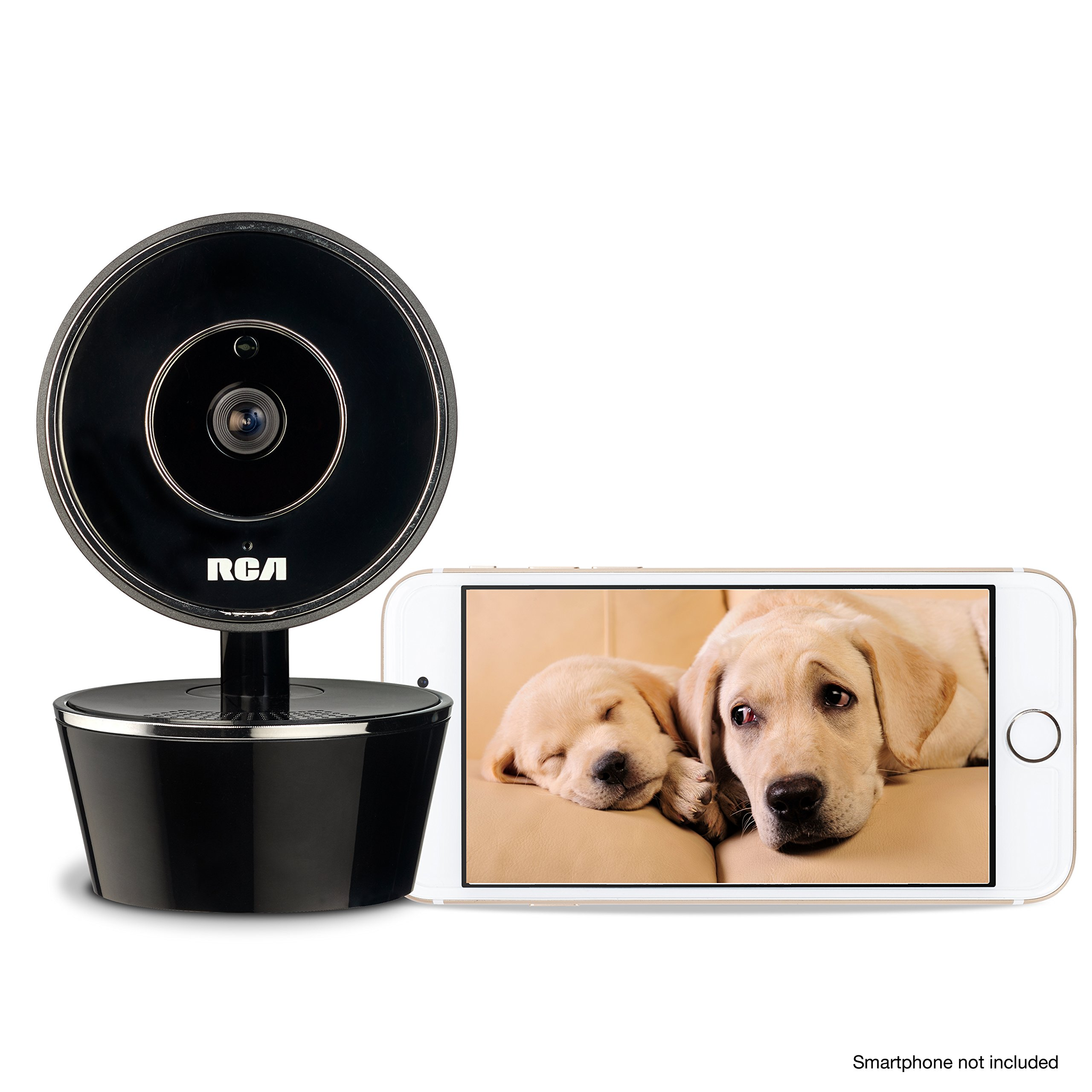 RCA Pet Camera for Dog & Cat Parents - WiFi Pet Security Camera with HD Video, 2 Way Audio, Night Vision, Motion & Sound Alerts & Phone App to Monitor & Talk to Your Pets, White, Small by RCA