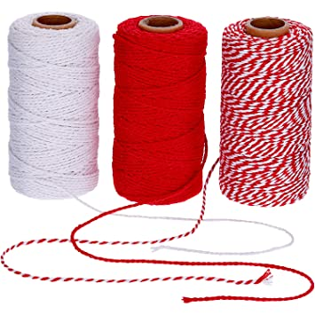 Amazon.com : Pangda 984 Feet Cotton Baker Twine 2 mm Valentines Day Christmas Wrapping String Rope for DIY Craft, 3 Colors (Red, White, Red and White) ...