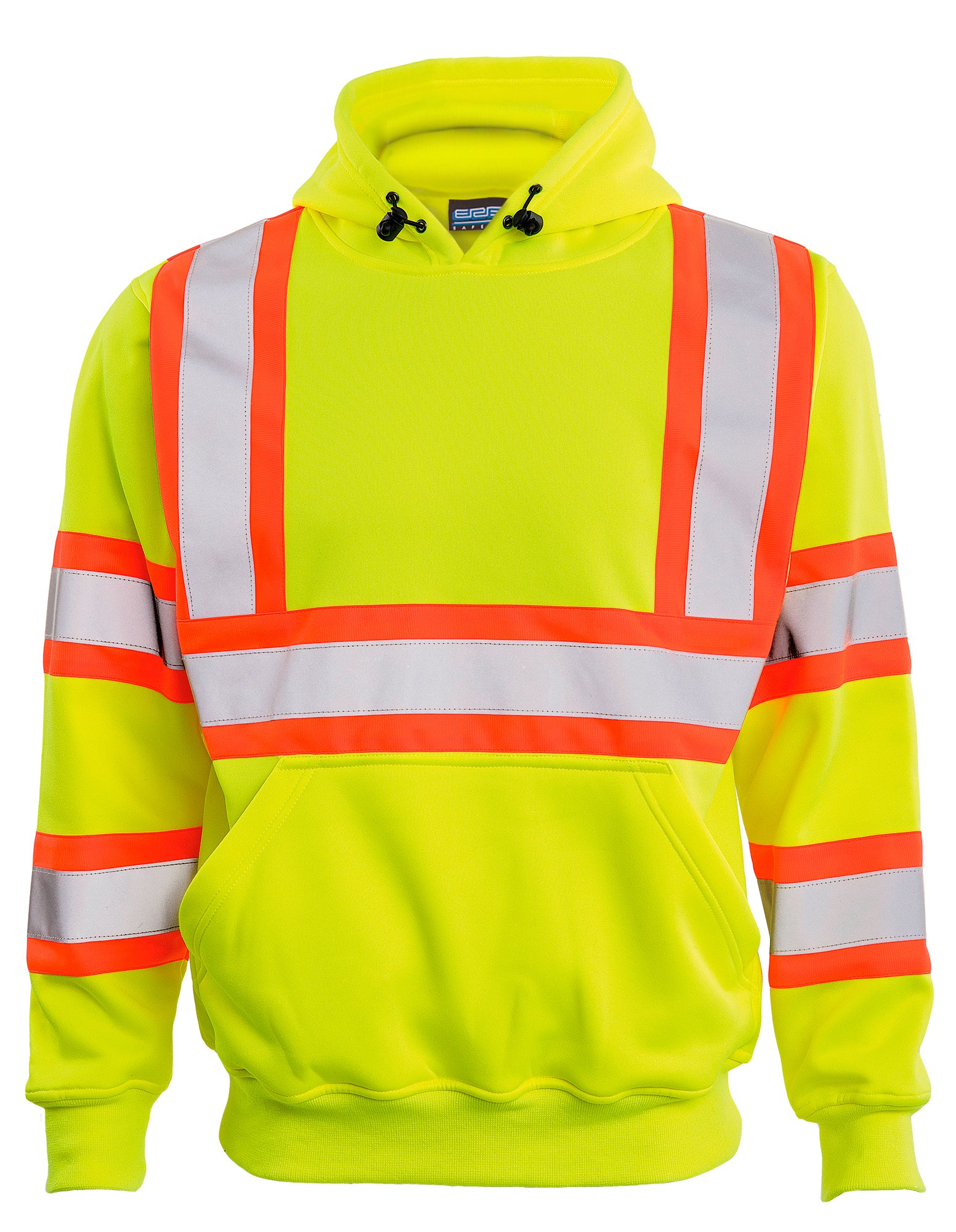 ERB Safety Products 63630 ERB W376C HVL Pullover Sweatshirt with Contrasting Trim, Class 3, XL, Yellow