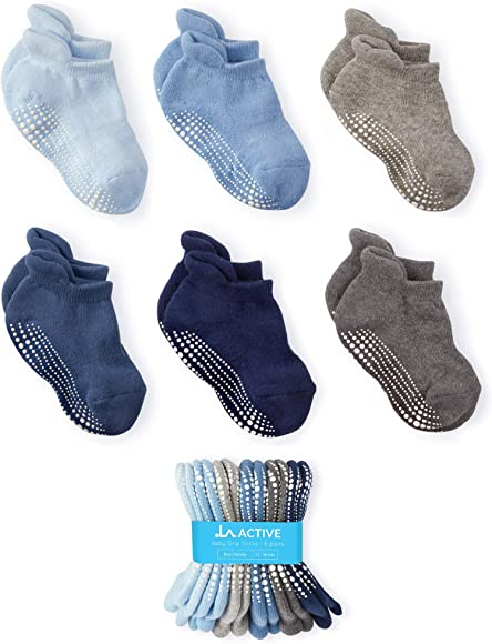 45139a1d9 LA Active Baby Toddler Grip Ankle Socks - 6 Pairs - Non Slip Skid Covered