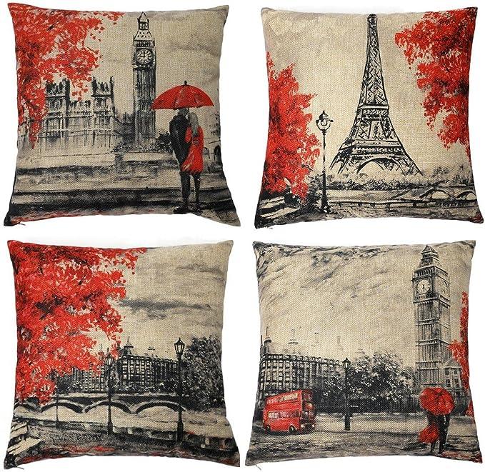 Gspirit 4 Pack Torre Eiffel Big Ben Lino Algodón Throw Pillow Case ...
