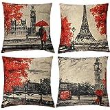 Gspirit 4 Pack Torre Eiffel & Big Ben Cotone Biancheria Cuscino Decorativo Caso Federa per cuscino 45x45 cm, Colore nero e rosso