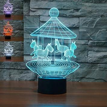 Amazon.com: Lámpara de mesa 3D con luz nocturna de 7 colores ...