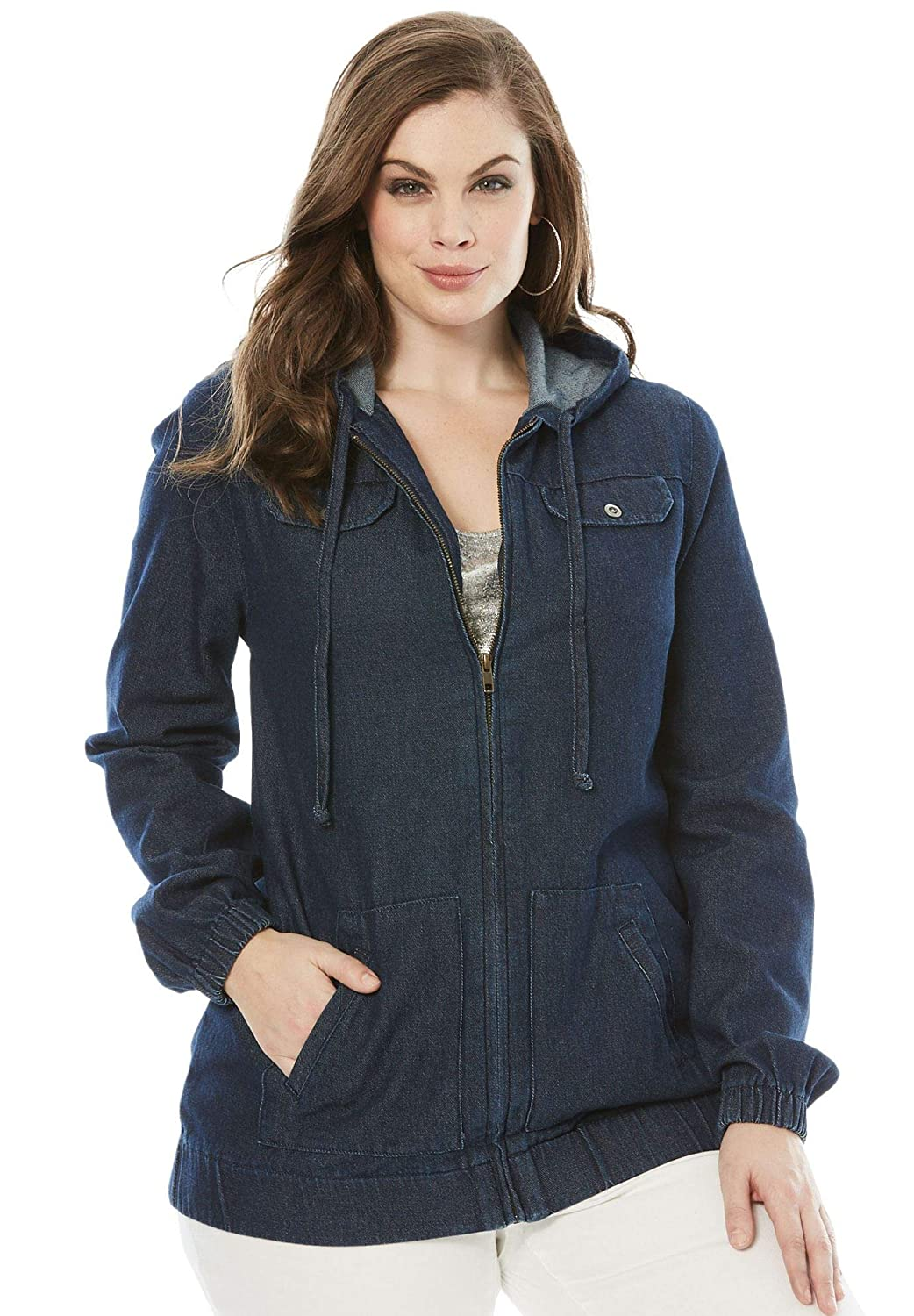 82a987e38f4 Roamans Women s Plus Size Denim Zip-Up Hoodie at Amazon Women s Clothing  store