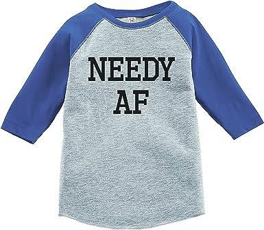 7 ate 9 Apparel Funny Kids Needy AF Baseball Tee Grey