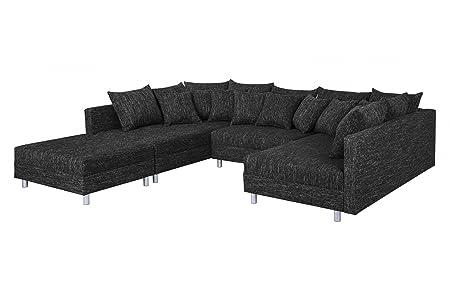 Wohnlandschaft Sofa Couch Ecksofa Eckcouch In Gewebestoff Schwarz