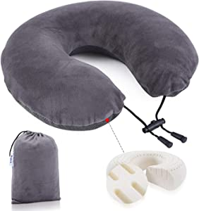 Sugein Natural Latex Neck Pillow,Travel Pillow for Traveling and Comfortable Sleep on Airplane, Car Road Trips, Bus, Train, or at Home,Two Different Experiences of Coolness and Warmth