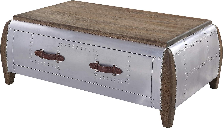 Acme Furniture Brancaster Coffee Table, Antique Oak & Aluminum