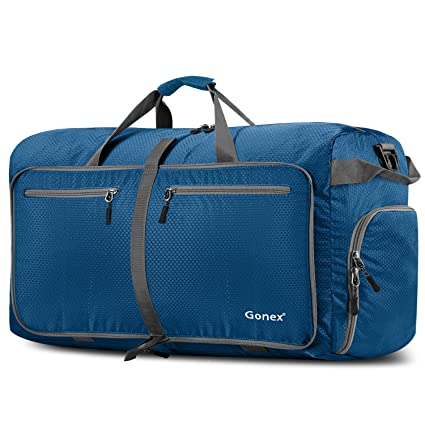 Gonex - Bolsa de Equipaje/Viaje de Duffel Plegable Impermeable y Resistente 100L Travel Bag para Viaje/Deporte Azul Oscuro