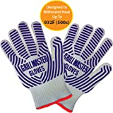 Oven Gloves Extreme Heat Resistant Gloves Ideal BBQ Gloves Rated to 932f  - Ideal Grilling Gloves by Grill Master (Grey)